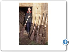 Adam King making the traditional bessom brooms  near High Wycombe Buckinghamshire