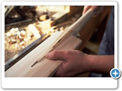 Cricket Bat Maker Tim Kelly making cricket bats from willow wood