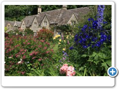 Garden of a cotswold cottage in the village of Bibury
