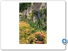 The garden of a cotswold cottage in the village of Bibury