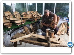 Carl Sadler making Garden Trugs in his workshop at Malmesbury Wilts