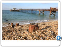 The beach and pier at Totland on the Isle of Wight