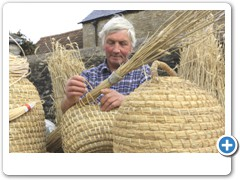 David Chubb making  Bee-Skeps on his farm in the Cotswolds